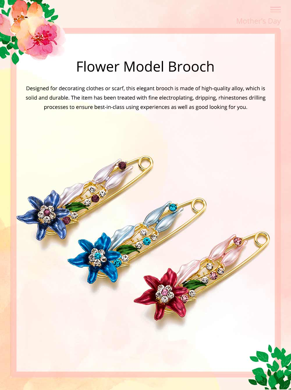 Elegant Dainty Lily Flower Dripping Alloy Breastpin for Women, Rhinestone Embellishment Bags Scarf Clothes Decoration Accessories Flower Brooch 0