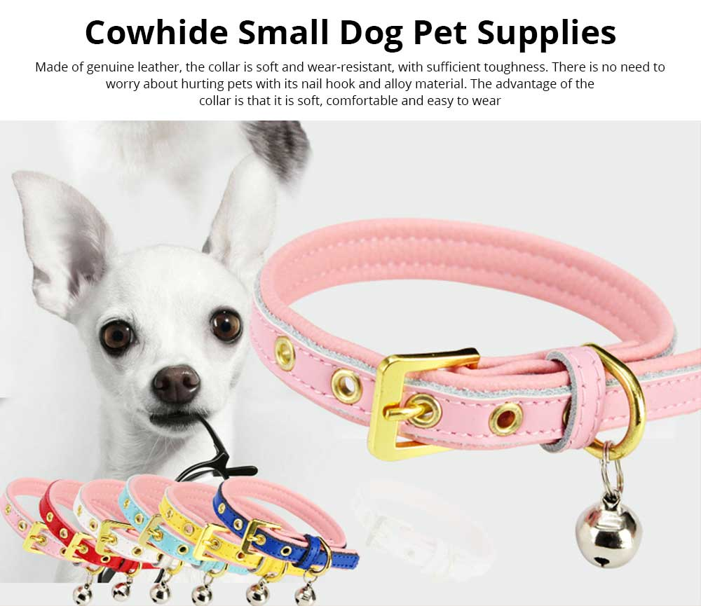 Delicate Leather Dog Cat Collar, Hardware Comfort Bell Dog Collar, Cowhide Small Pet Supplies 0