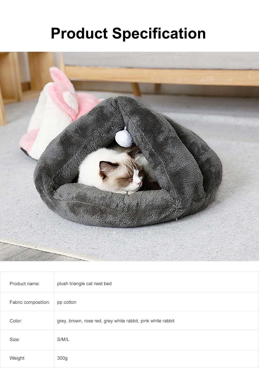 Plush Triangle Cat Nest Bed, Keep Warm Cat Nesting Dolls, Luxury Cotton Kitty Nest 6