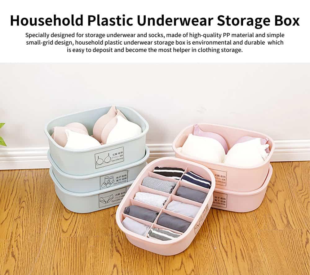 Underwear and Socks Storage Box with Small Grids, Plastic Bra & Underwear Organizer Box for Wardrobe & Drawer 0