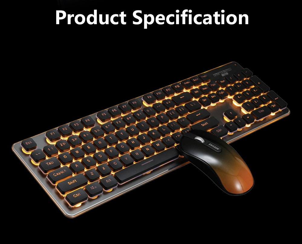 Quiet Gaming Keyboard and Mouse Combo, LED Backlit Quiet Keyboard and Mouse Gaming Set Wireless 13