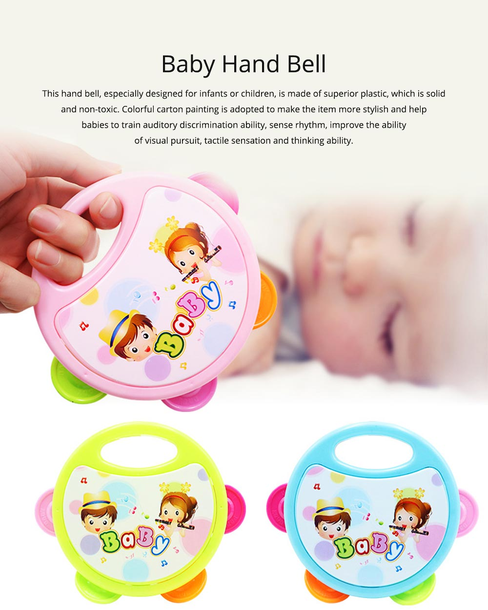 Colorful Baby Hand Bell with Cute Painting, Delicate Solid Plastic Children Tambourine Rattle Early Education Toy 0