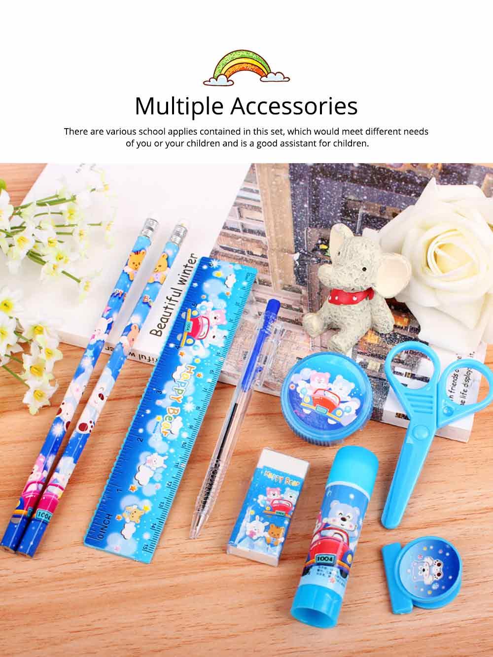 Functional 9 PCS Pencil Sharpener Rubber Scissors Glue Stick Clip Stationery Suit, Useful Stylish Children Study Accessories School Supplies 3