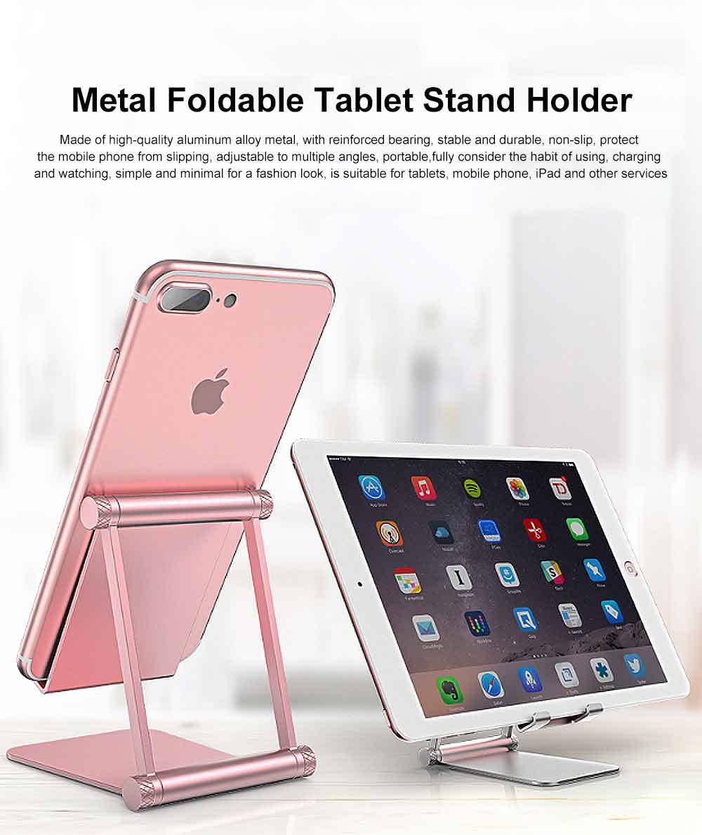 Aluminum Alloy Metal Flexable Tablet Phone Stand Holder, Desktop Foldable Adjustable Kickstand for Universal 0