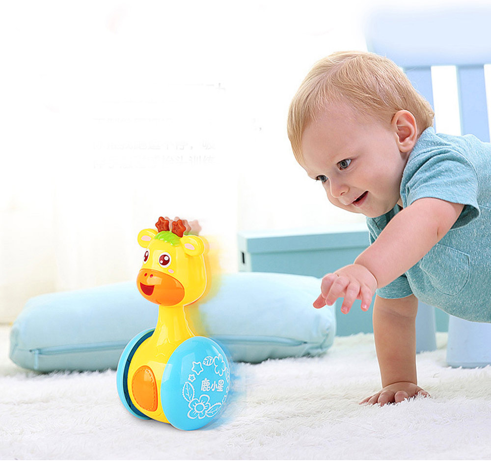 Cute Deer Tumbler Learn Crawling Education Toy, Breaking-proof Swinging Interaction Early Education Toy 2