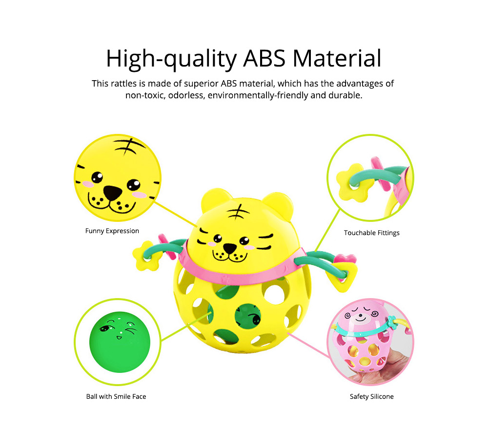 Silicone Rattles Grip Ball Teether with Cute Carton Animal Model, Delicate Funny Ultrasoft Silica Gel Puzzle Toy for Babies Children 1