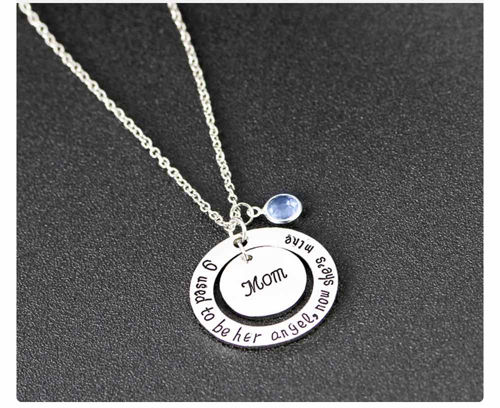Family Series Pendant with Creative Letters of Dad & Mom Angel, Father's Day and Mother's Gift Angel Necklace 6