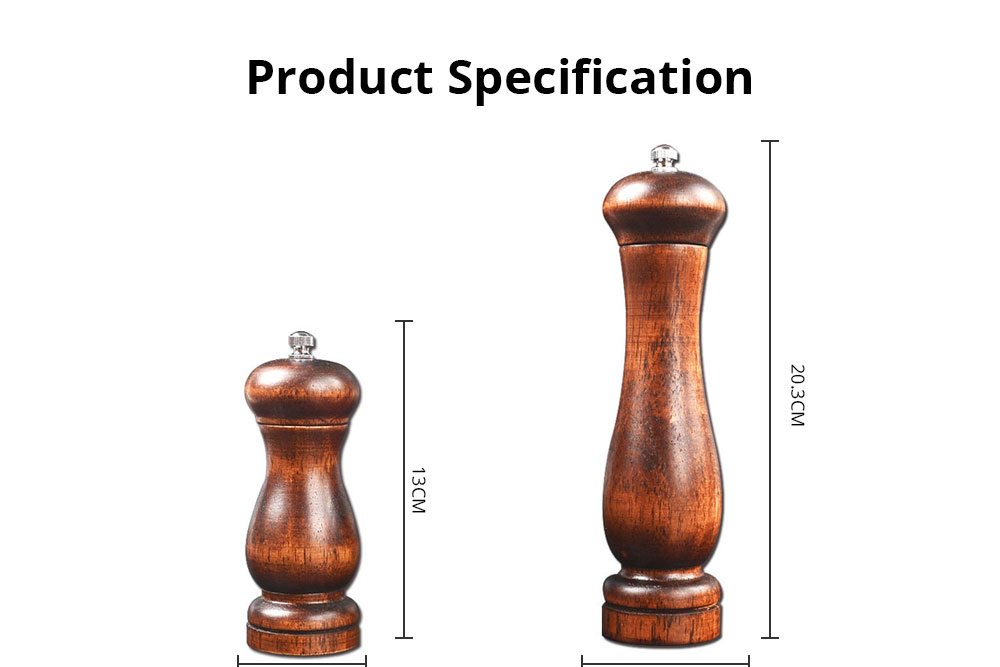 Solid Wooden Manual Pepper Grinder, Simple and Practical Black Pepper Grinder 6
