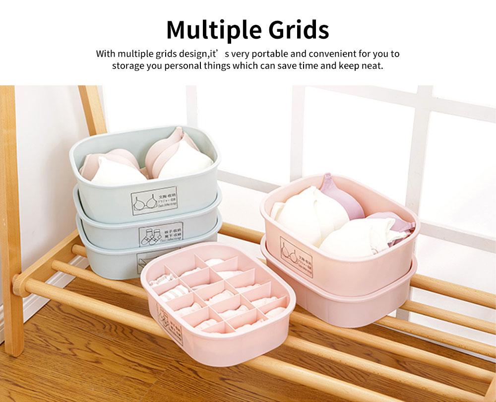 Underwear and Socks Storage Box with Small Grids, Plastic Bra & Underwear Organizer Box for Wardrobe & Drawer 5