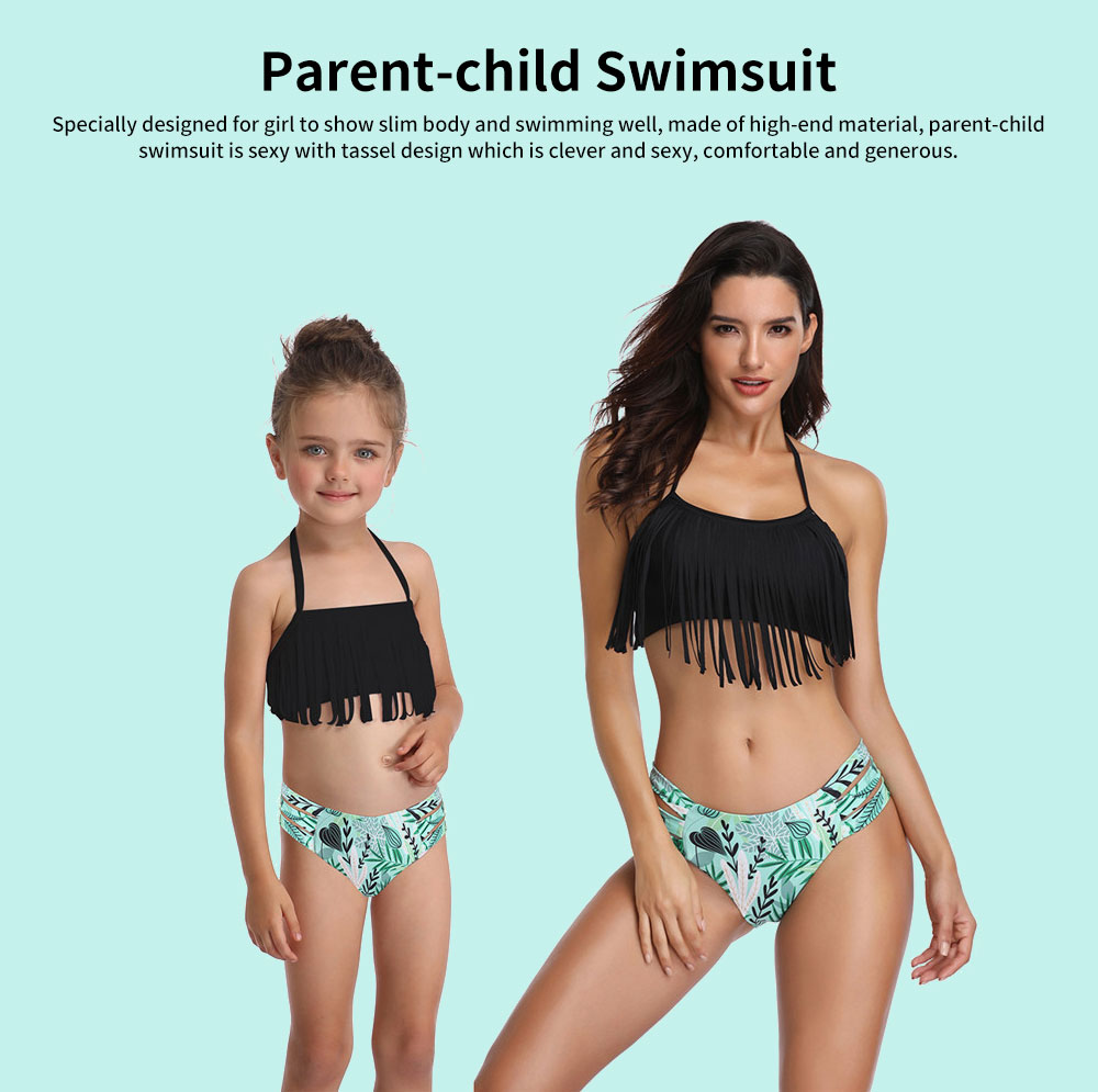 Parent-child Swimsuit with Tassel & Adjustable Back Strap design, Lovely Split Bikini with Three Broadband Waist 0