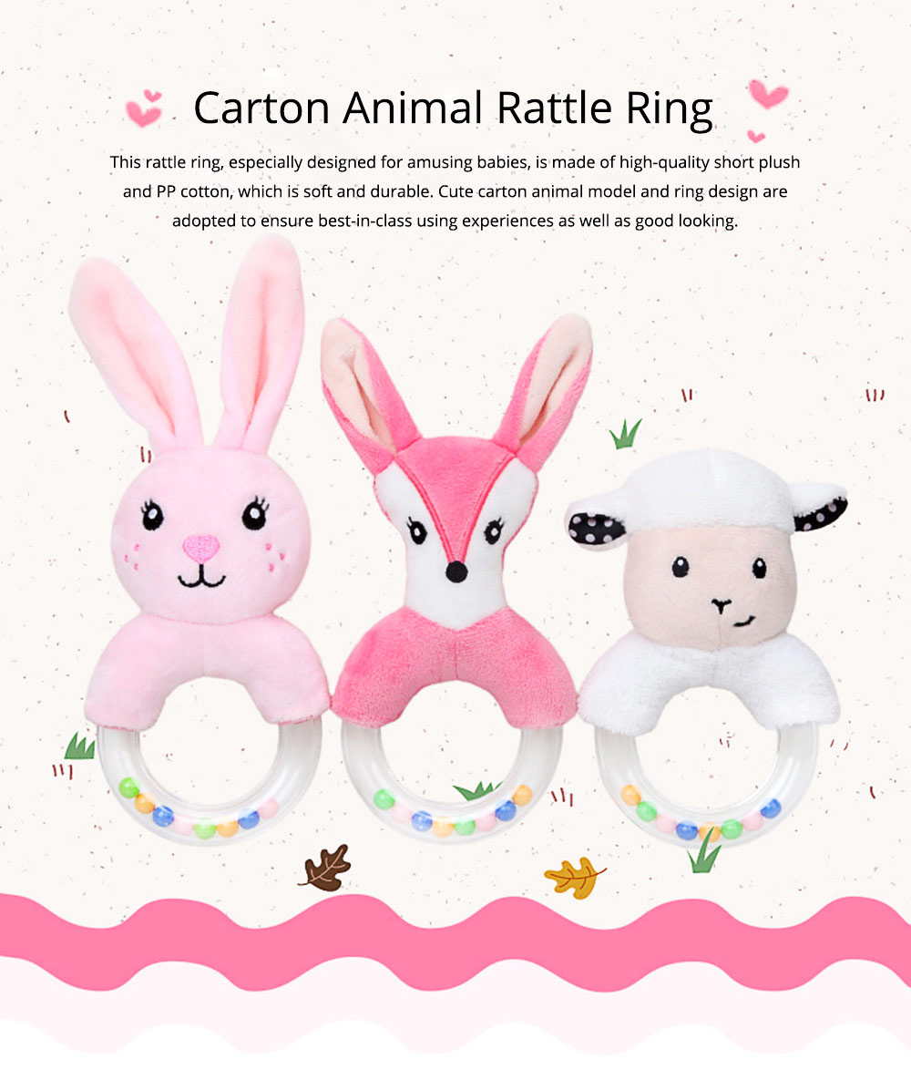 Cute Fluffy Cartoon Animals Rattle, Creative Soft Short Plush Doll Hand Bell with Delicate Embroidery 0