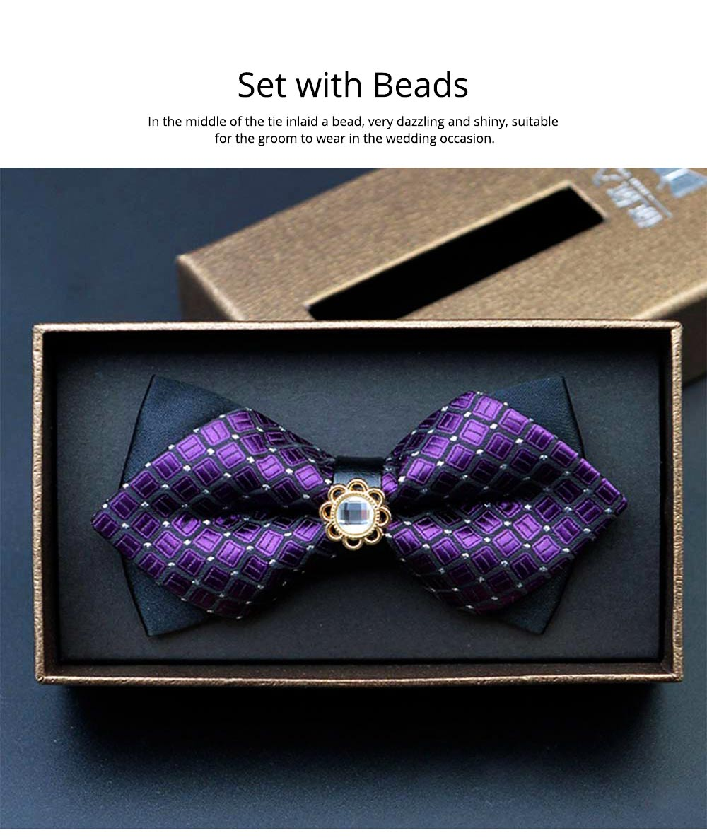 Elegant Groom Bow Tie for Men Boys - Various Style in Different Color, Gentleman Grid Bow Tie Set with Bead 4