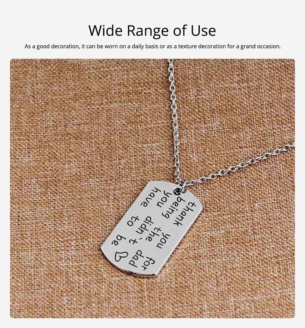 Zinc Alloy Necklace Pendant with Smear Lettering Letters & Perfect texture Lines, Father's Day Gift 5