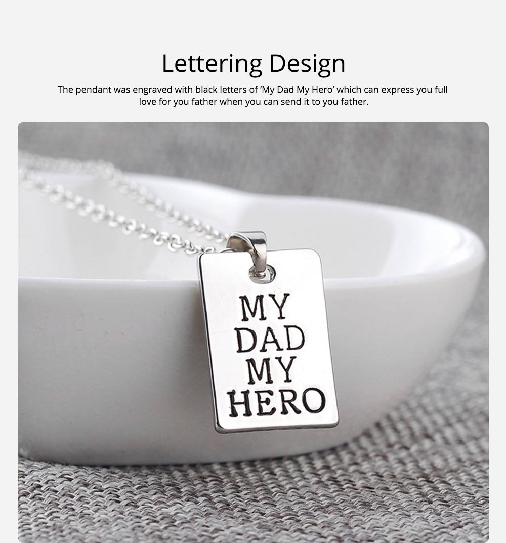 Zinc Alloy Necklace Pendant with I Love You Dad Lettering Letters & Perfect Lines, Father's Day Gift 1