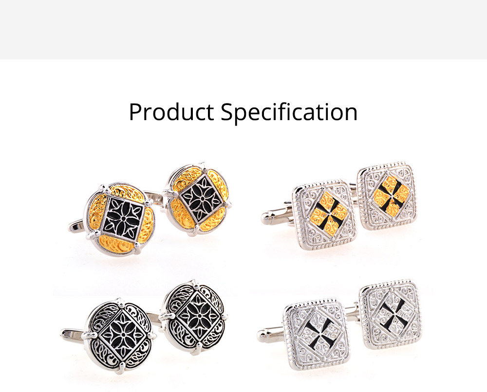 French Style Cuff Links, Classical Cufflink of Color Matching, Electroplating Fashion Buttons 7