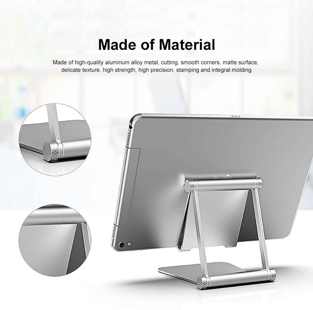 Aluminum Alloy Metal Flexable Tablet Phone Stand Holder, Desktop Foldable Adjustable Kickstand for Universal 3