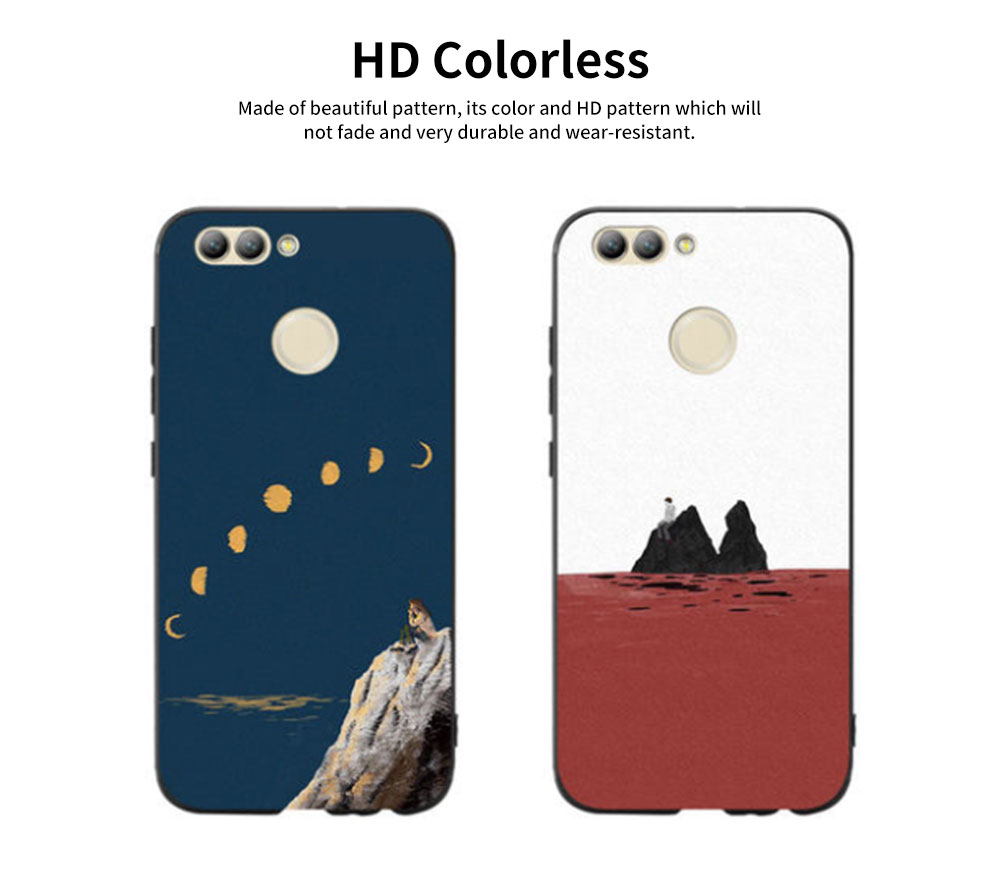 Non-drop Phone Case for HUAWEI nova, nova 2/2s plus, nova 3/3e/3i, nova 4, HD Colorless Painted Soft Shell Full Package with Contracted Painting Design 3