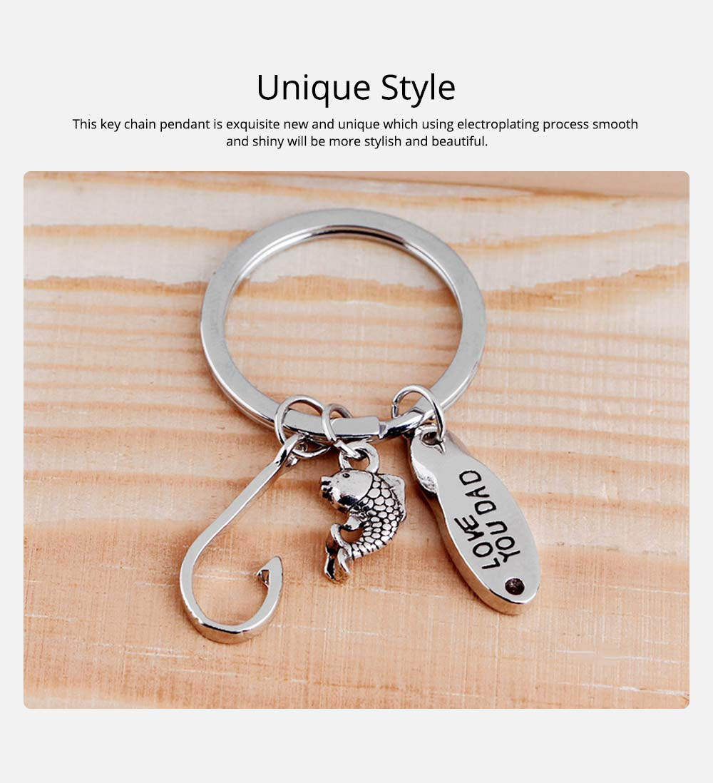 Key Chain of Fish Hook Design with Smear Lettering, Engraved Stainless Steel Key Ring Pendant for Father's Day Gift 5