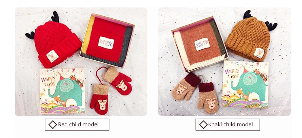Cute Warm Children Deer Antler Beanie Cap Scarf Gloves 3 PCS Suit, Elegant Cartoon Animal Sewing Autumn Winter Christmas Accessories Set for Children 16