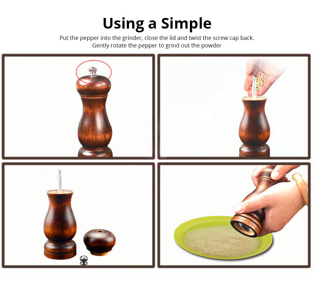 Solid Wooden Manual Pepper Grinder, Simple and Practical Black Pepper Grinder 5