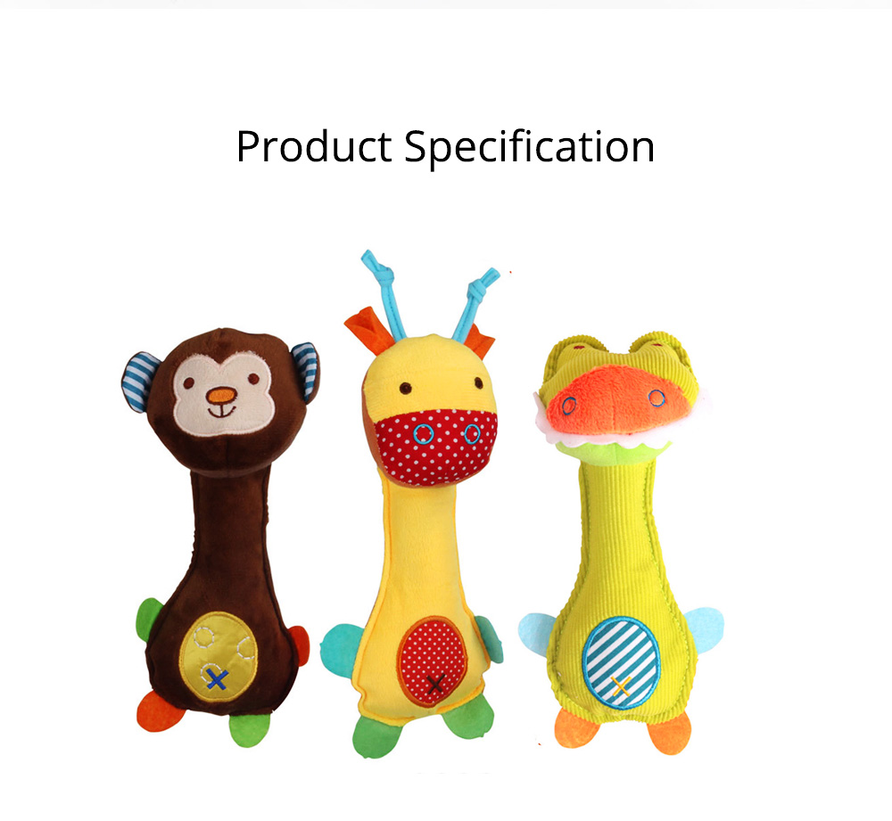 Ultrasoft Short Plush Babies Rattle with BB Device, Cute Animal Model Hand Bell Early Education for Infants Children 7
