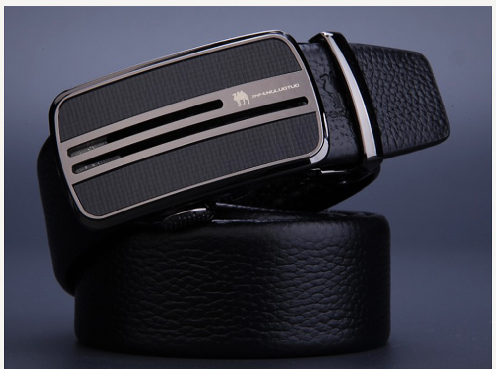 Men's Scratch Resistant Pure Leather Belt with Texture Alloy Buckle, Automatic Buckle Business Belt for Father's Day 6