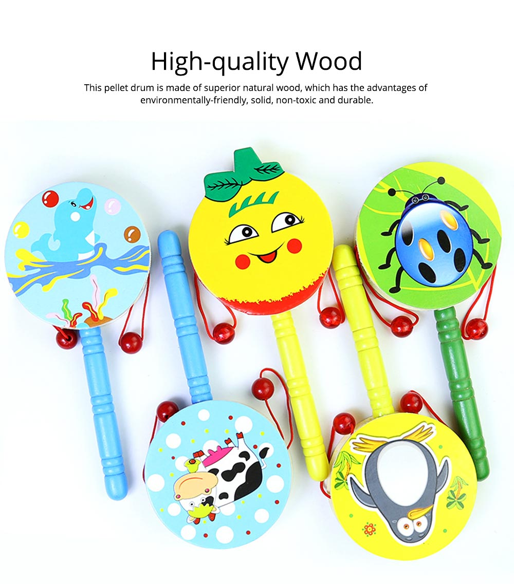 Classical Chinese Style Wooden Rattle for Children, Cute Cartoon Painting Pellet Drum Musical Toy for Early Education 1
