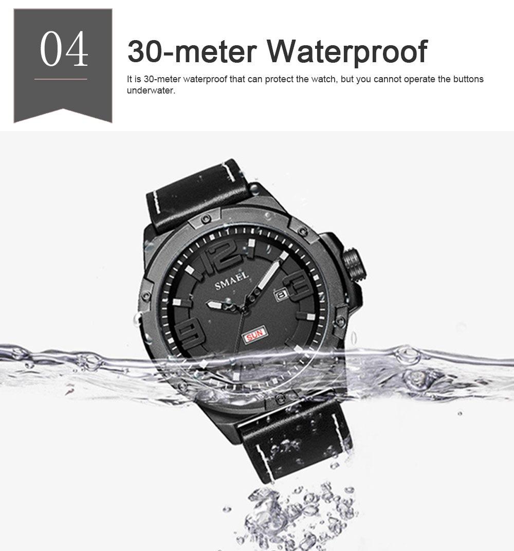 Waterproof Sport Watch with Calendar, Multifunctional Leather Band Sport Watchfor Men 4
