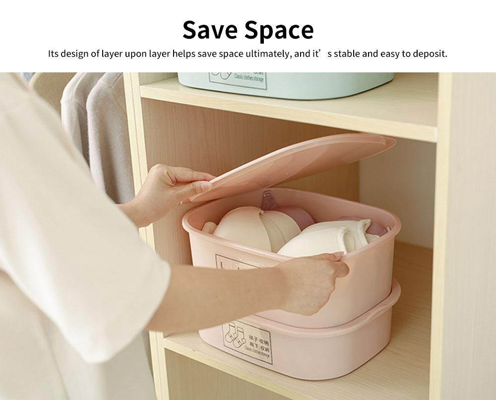 Underwear and Socks Storage Box with Small Grids, Plastic Bra & Underwear Organizer Box for Wardrobe & Drawer 4