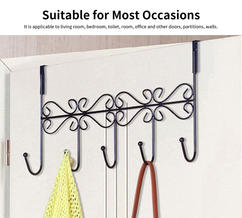 Iron Door Hook with Non-trace Iron Beads & Wide Range of Application, Hook Coat Rack with Twisted Hooks in Matte Black 6