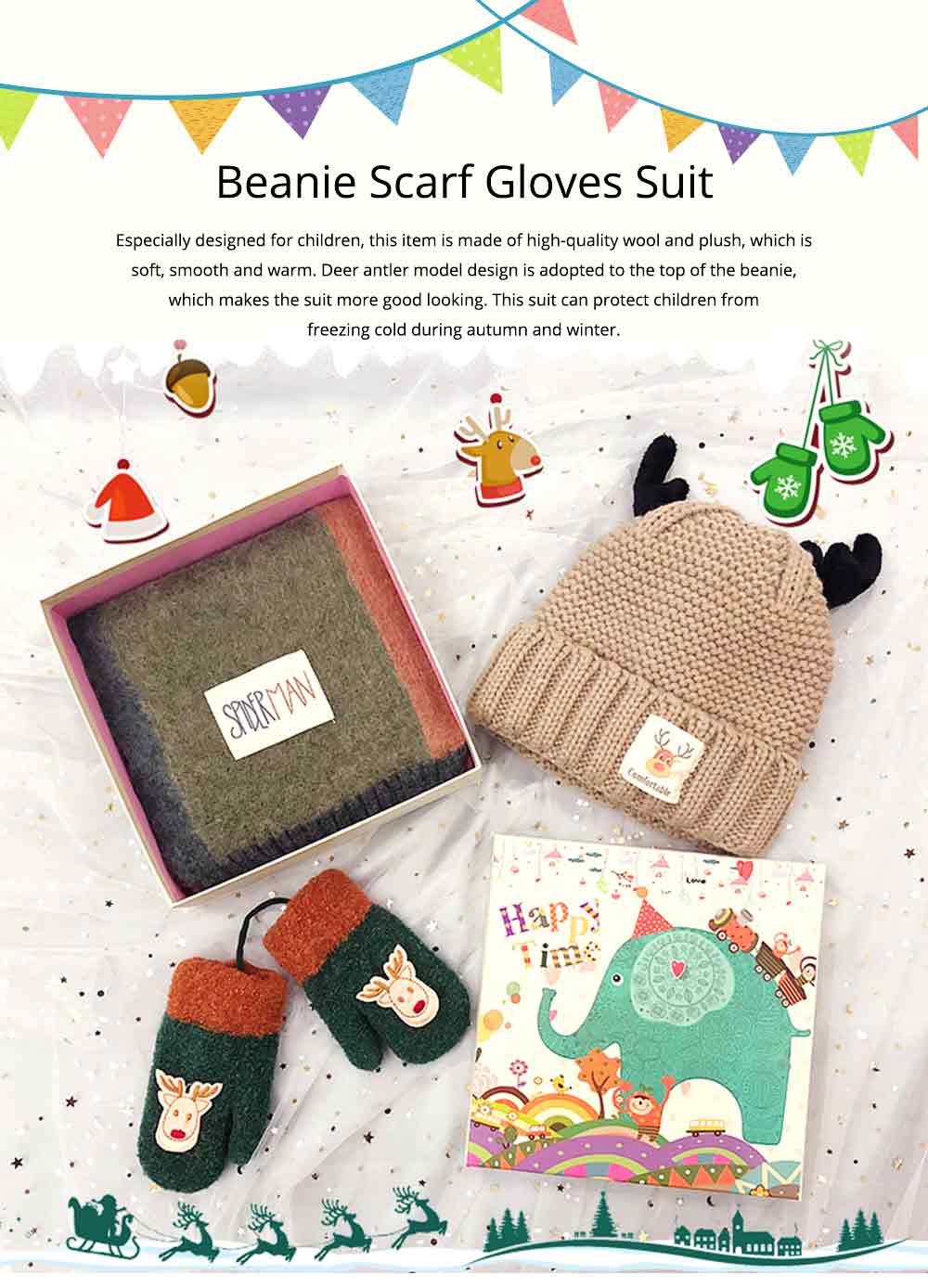 Cute Warm Children Deer Antler Beanie Cap Scarf Gloves 3 PCS Suit, Elegant Cartoon Animal Sewing Autumn Winter Christmas Accessories Set for Children 0