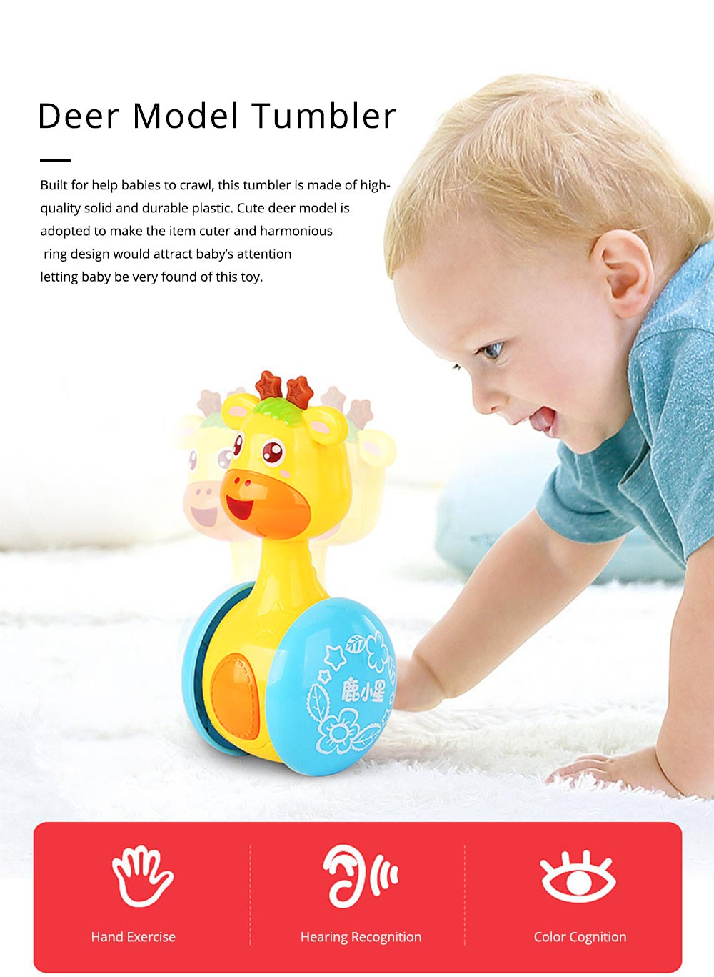 Cute Deer Tumbler Learn Crawling Education Toy, Breaking-proof Swinging Interaction Early Education Toy 0