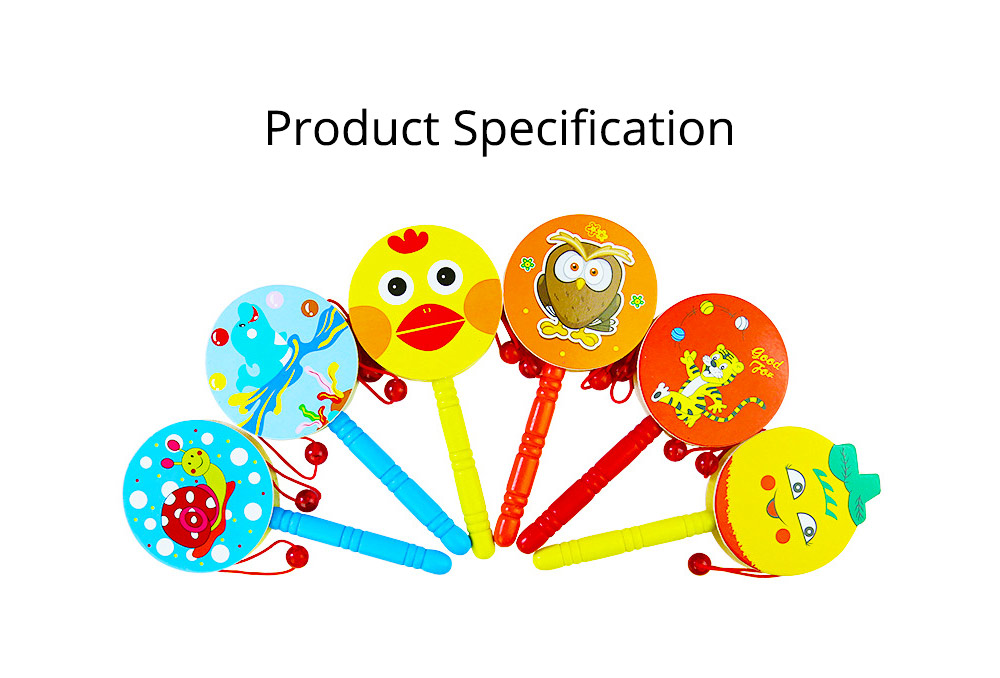 Classical Chinese Style Wooden Rattle for Children, Cute Cartoon Painting Pellet Drum Musical Toy for Early Education 7