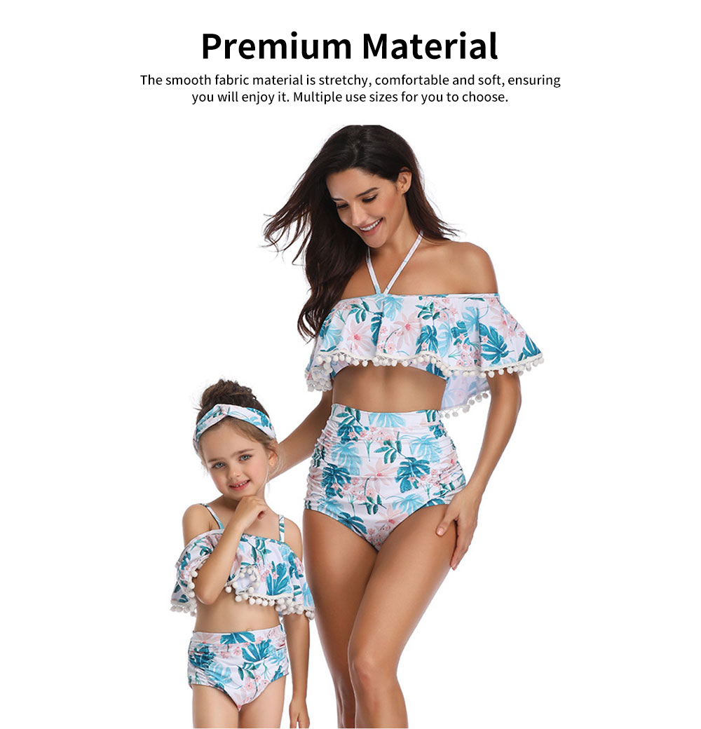 Parent-child High Waist Bikinis with Floral Prints, Lovely Split Bikini with Breast Wiping & Fold Design 1