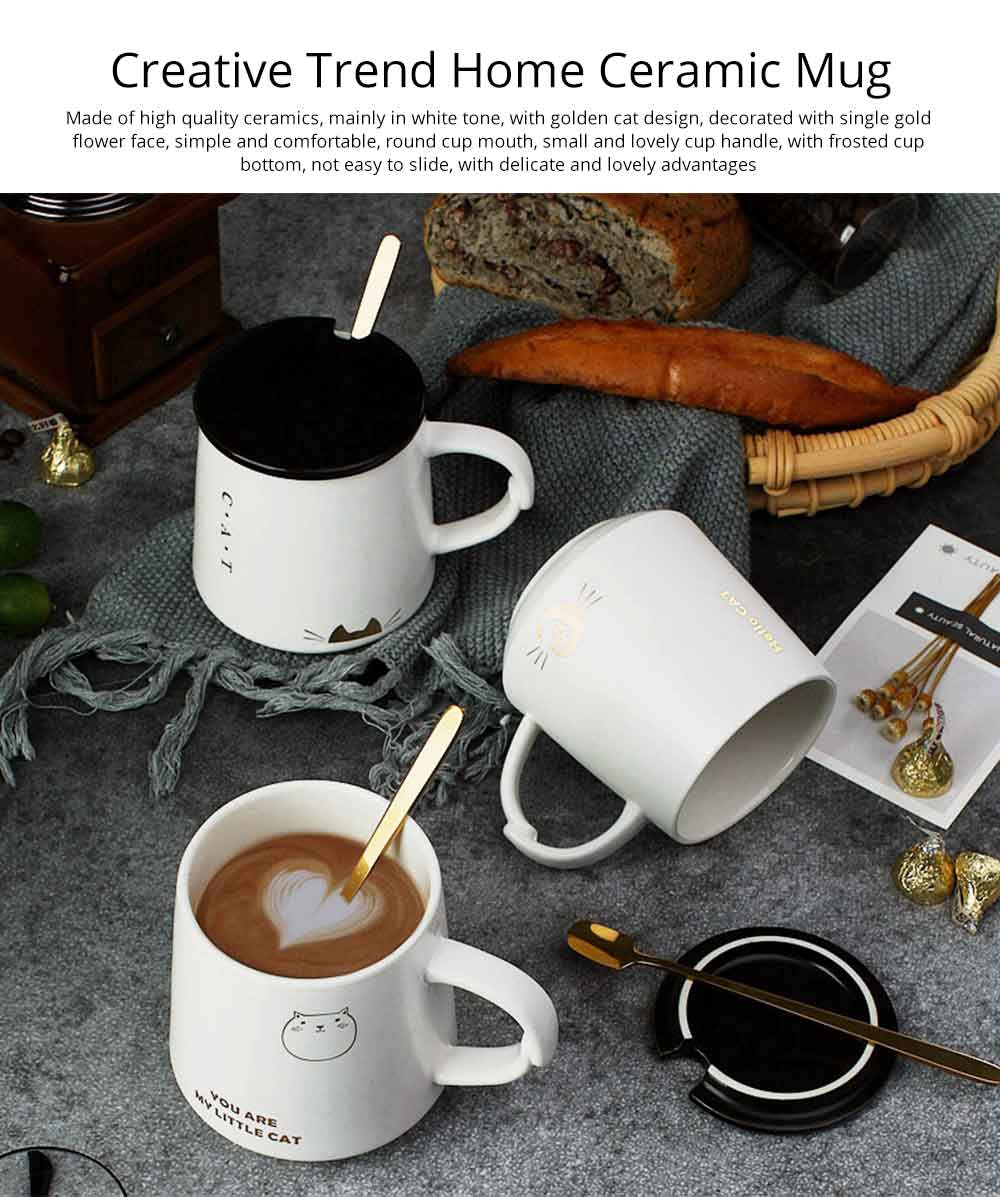 Trending Ceramic Mug for Female and Student, Cute Breakfast Coffee Cup with Lid Spoon 0