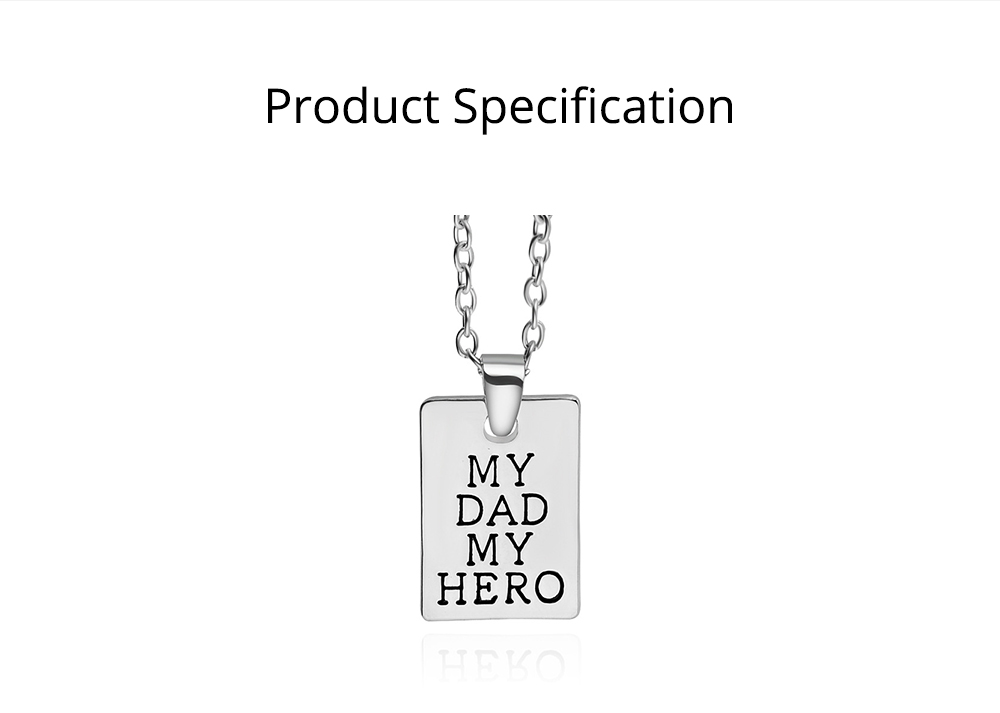 Zinc Alloy Necklace Pendant with I Love You Dad Lettering Letters & Perfect Lines, Father's Day Gift 7