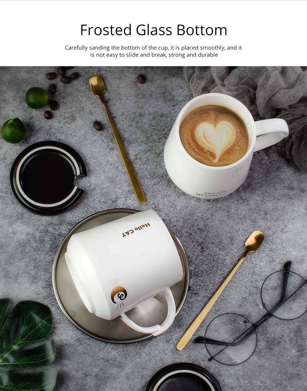Trending Ceramic Mug for Female and Student, Cute Breakfast Coffee Cup with Lid Spoon 4