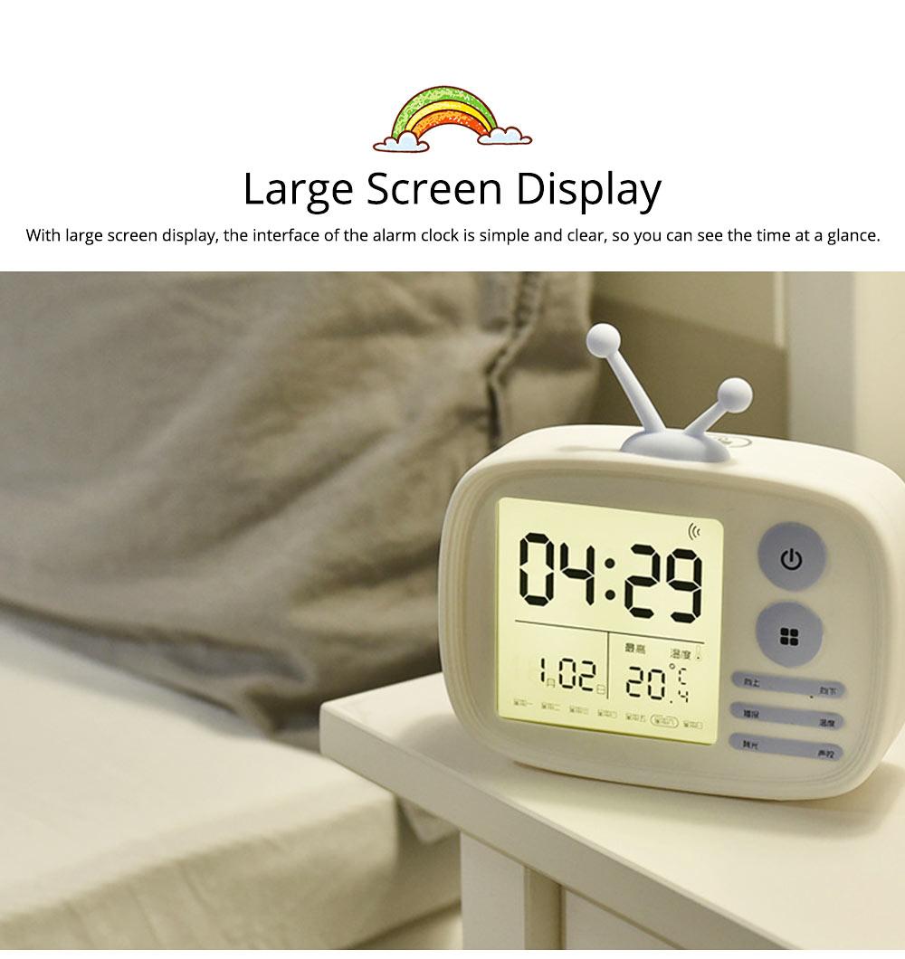 Creative Television Model Intelligent Digital Alarm Clock Watch, Stylish Funny Clock with Sound Reminder Two Light 8