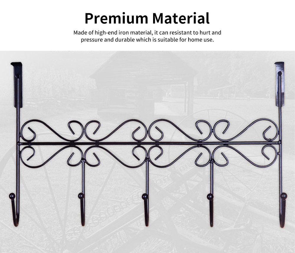 Iron Door Hook with Non-trace Iron Beads & Wide Range of Application, Hook Coat Rack with Twisted Hooks in Matte Black 1
