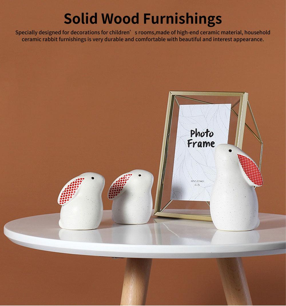 Ceramic Rabbit Furnishings Ornament for Children's Rooms, Children's Clothing Stores Decoration 0