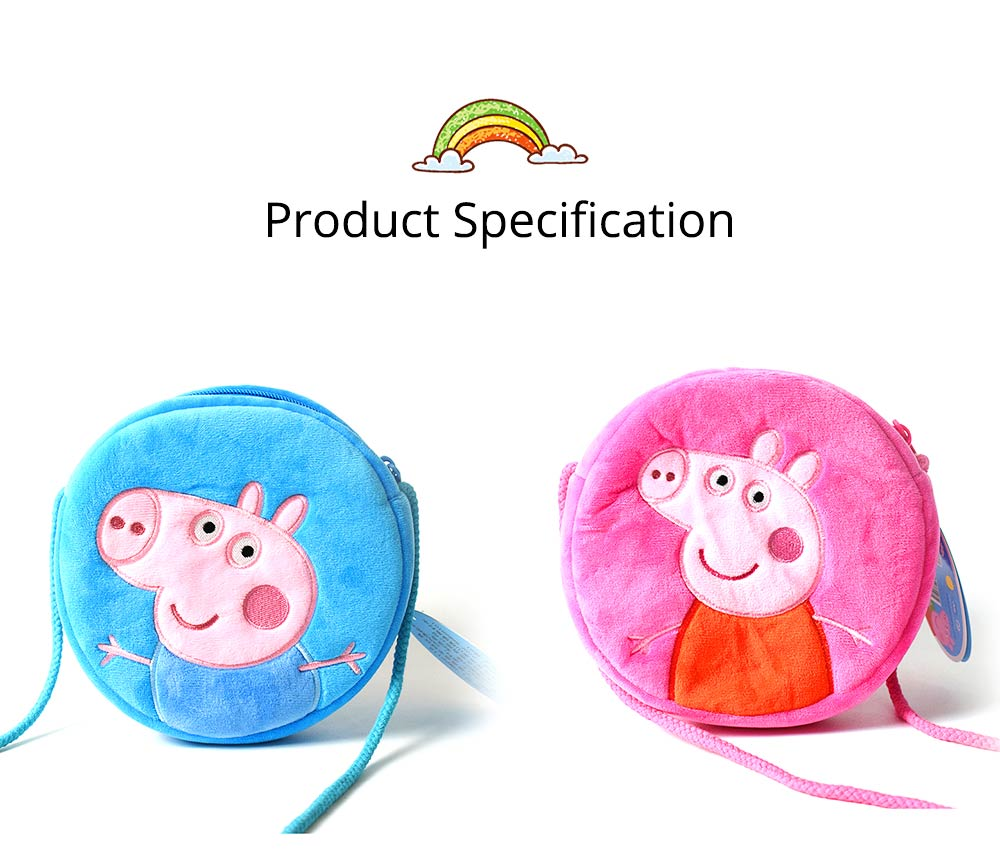 Cute Peppa George Pig Little Round Children Shoulder Bag, Ultrasoft Plush Cotton Satchel Cross Body Bag for Girls Boys 8