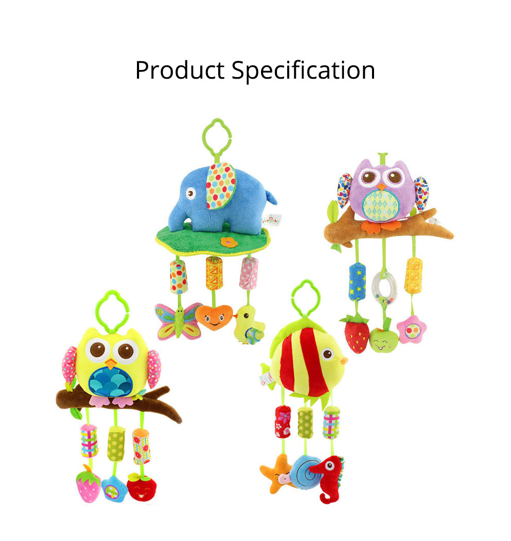 Cute Cartoon Animal Plush Baby Mobile, Delicate Fancy Pacification Early Education Stroller Hanging Toy for Infants Babies 11
