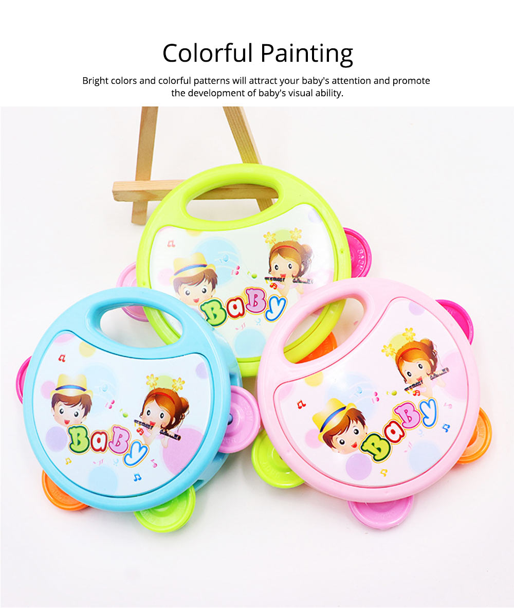 Colorful Baby Hand Bell with Cute Painting, Delicate Solid Plastic Children Tambourine Rattle Early Education Toy 3