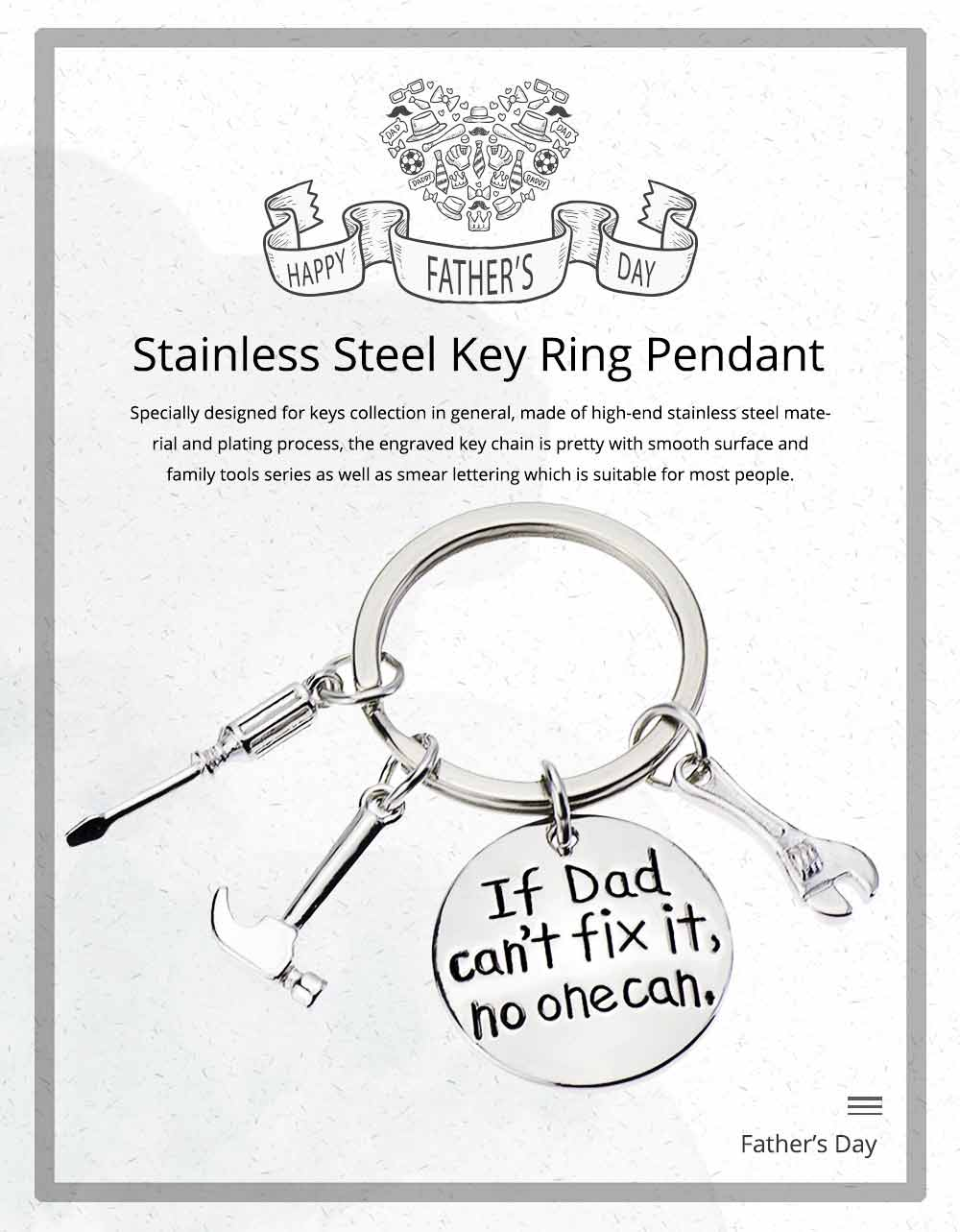 Stainless Steel Key Ring Pendant, Universal Engraved Key Chain with Smear Lettering 0