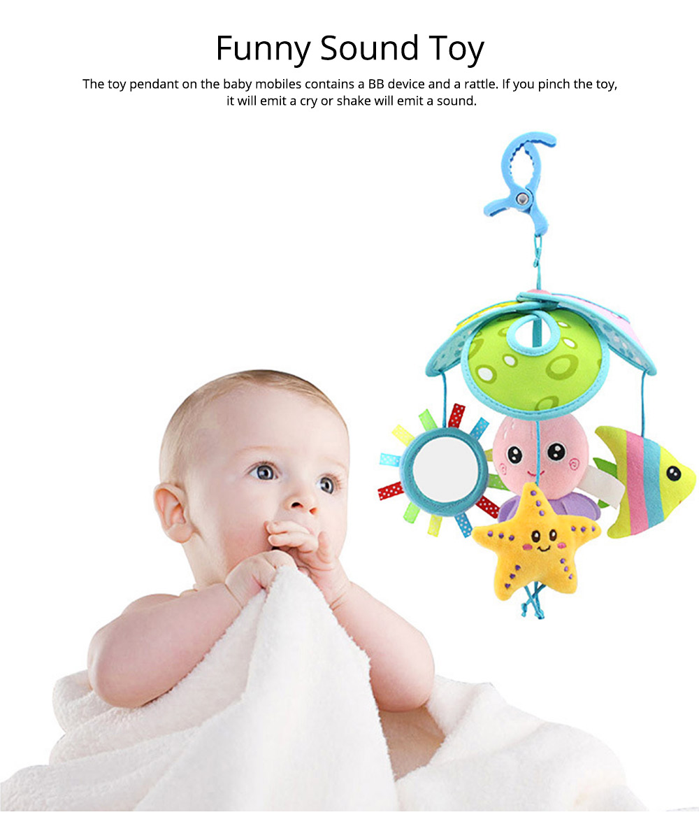 Cute Carton Forest Ocean Animal Series Baby Mobiles, Pacification Toy Wind Bell with Three Leaves Rotation Design for Infants 9