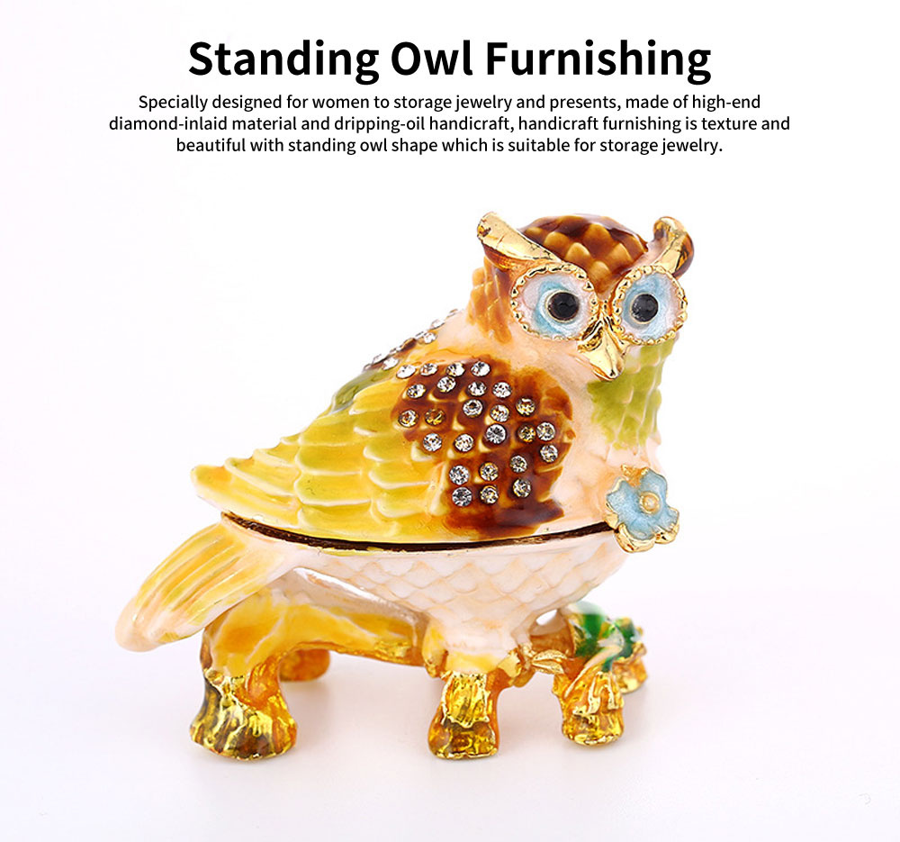 Standing Owl Shape Jewelry Storage Box Drip-oil Set with Diamond Metal Handicraft Furnishing For Women to Storage Jewelry and Presents 0