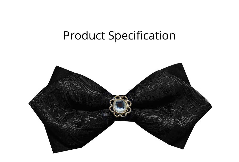 Elegant Groom Bow Tie for Men Boys - Various Style in Different Color, Gentleman Grid Bow Tie Set with Bead 8