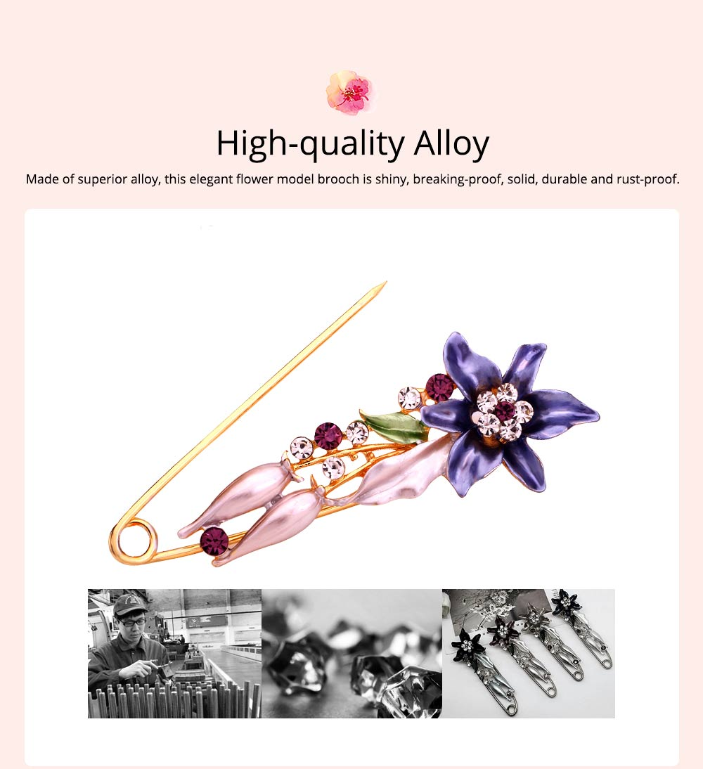 Elegant Dainty Lily Flower Dripping Alloy Breastpin for Women, Rhinestone Embellishment Bags Scarf Clothes Decoration Accessories Flower Brooch 1
