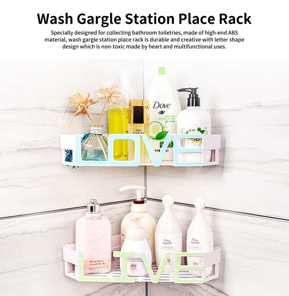 Wash Gargle Station Place Rack Wall Hanging Angle Rack with Hole-free Design & Letter Shape for the Bathroom 0