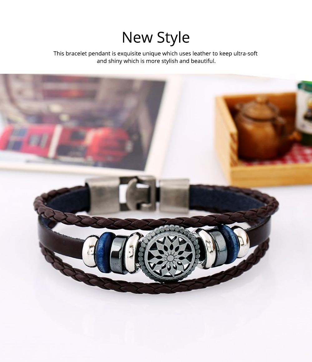 Woven PU Leather Bracelet, Men' Cowhide Hand Ornament for Father's Day Gift, Birthday Gift, Business Activity Gift 6